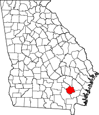 Map of Georgia that shows counties boundaries with Pierce County highlighted