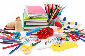 school supplies on a white table